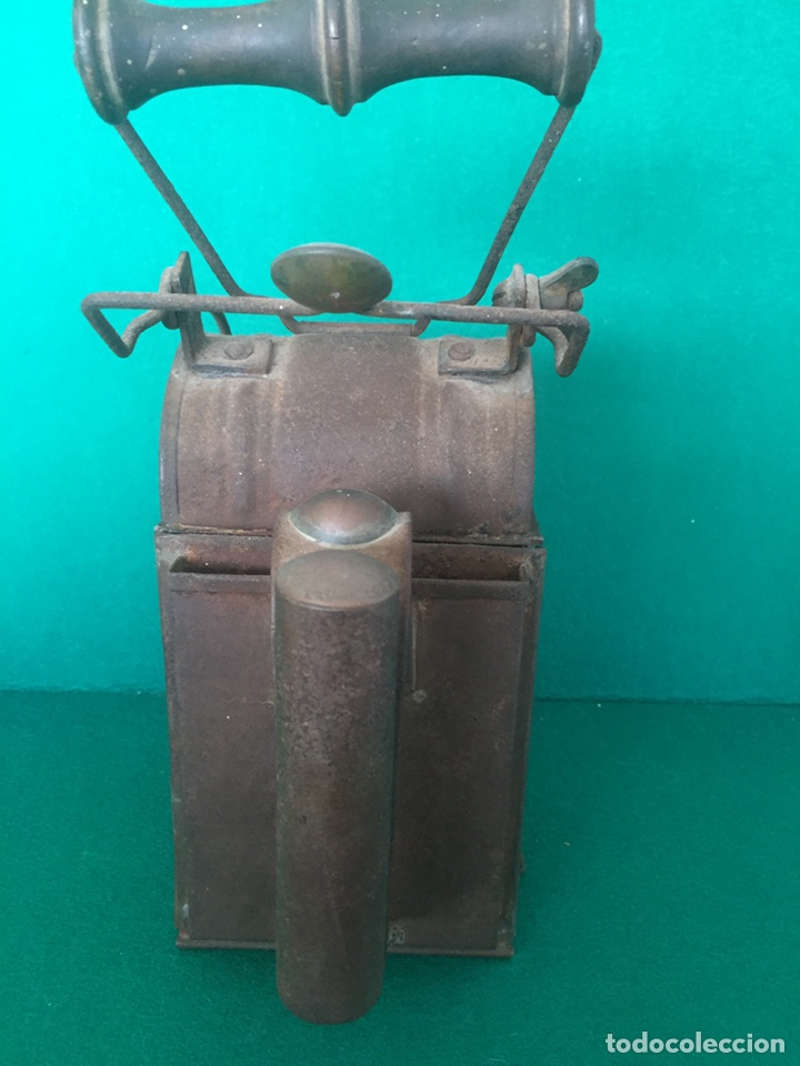 Antigüedades: Antiguo farol de hierro 26x16x11cm - Foto 17 - 154156672