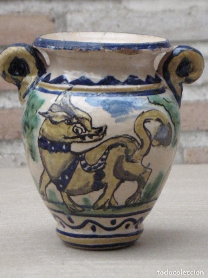 JARRA ANTIGUA DEL LOBO - PUENTE DEL ARZOBISPO ( TOLEDO ) (Antigüedades - Porcelanas y Cerámicas - Puente del Arzobispo )