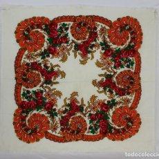 Antiquitäten - 263 Pañuelo blanco estampado, mantoncillo, regional. 80x80 cm - 154237382