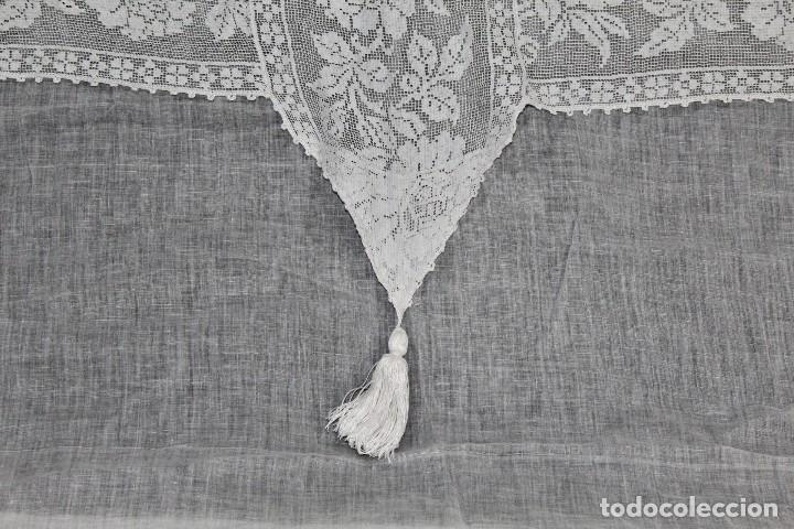 Antigüedades: t4 Cortina modernista en batista, con bordados manuales de malla, y aplicaciones. Fines s XIX - Foto 6 - 154247130