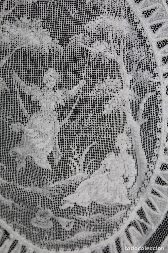 Antigüedades: t4 Cortina modernista en batista, con bordados manuales de malla, y aplicaciones. Fines s XIX - Foto 9 - 154247130