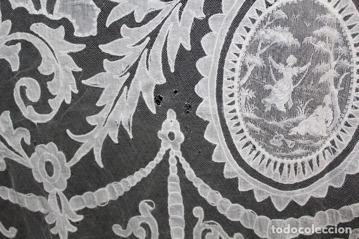 Antigüedades: t4 Cortina modernista en batista, con bordados manuales de malla, y aplicaciones. Fines s XIX - Foto 10 - 154247130