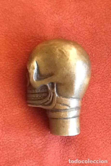 Antigüedades: MANGO DE BRONCE PARA BASTON. FORMA DE CALAVERA. .ENVIO INCLUIDO. - Foto 2 - 174383167
