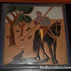 Antigüedades: AZULEJO MENSAQUE RODRÍGUEZ, DE SEVILLA, SERIE DON QUIJOTE. Lote 154258054