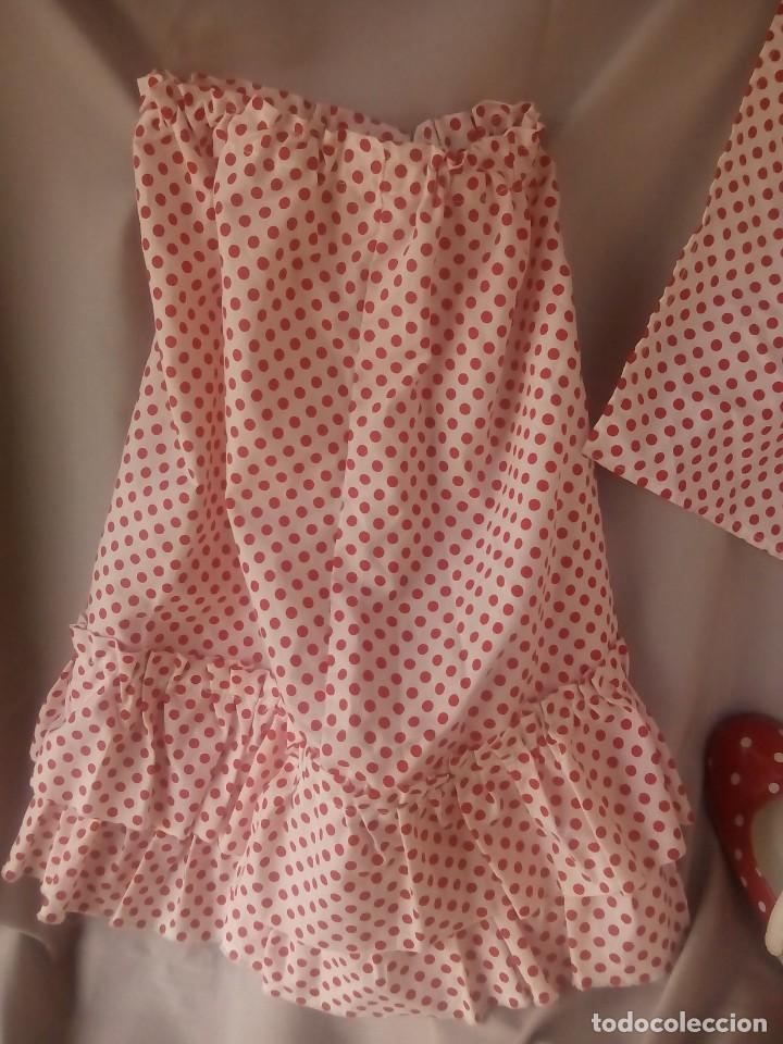 Antigüedades: Disfraz para niña falda de chulapa madrileña +Cinta, pañuelo y zapatos para carnaval o fiestas - Foto 3 - 154277614