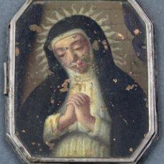 Antigüedades: IMAGEN VIRGEN DE LA SOLEDAD ÓLEO SOBRE COBRE PARTE DE UN RELICARIO PRINCIPIOS DEL SIGLO XVII. Lote 154285046
