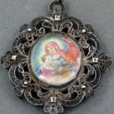 Antigüedades: RELICARIO GRABADO ILUMINADO SAN FRANCISCO Y VIRGEN Y SANTA ANA EN FILIGRANA PLATA SIGLO XVIII. Lote 154285258