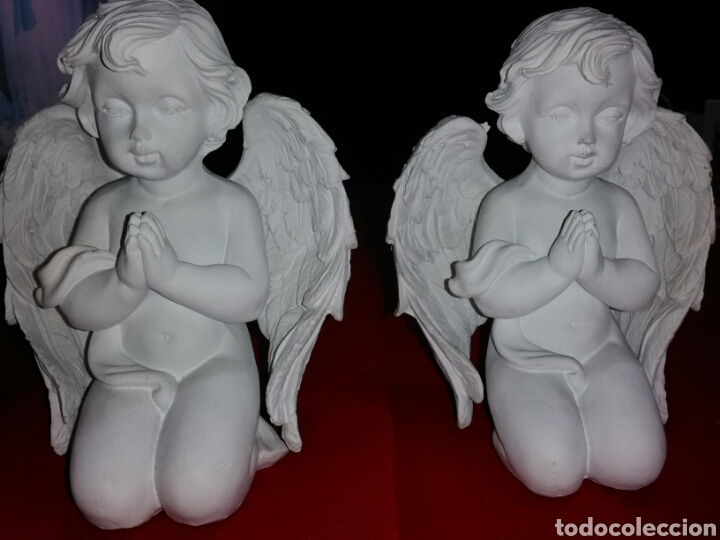 ¡¡LIQUIDACIÓN!! ***BONITA PAREJA DE ANGELES REZANDO.*** (Antigüedades - Religiosas - Varios)