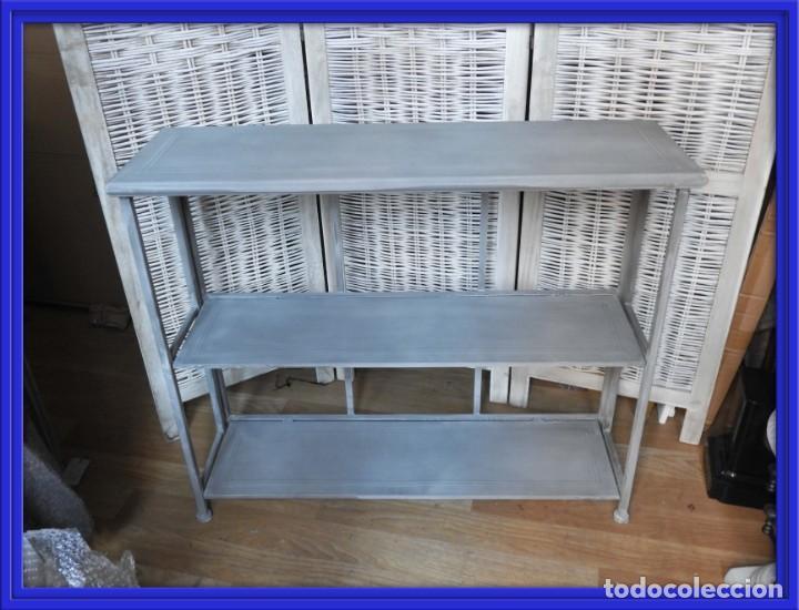 CONSOLA DE METAL PLEGABLE DE TRES ALTURAS 92 CM ANCHO (Antigüedades - Muebles Antiguos - Consolas Antiguas)