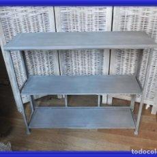 Antigüedades: CONSOLA DE METAL PLEGABLE DE TRES ALTURAS 92 CM ANCHO. Lote 154312390