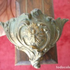 Antigüedades: CRUCIFIJO BENDITERA DE MADERA NOBLE, BRONCE Y CALAMINA. Lote 154377534