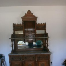 Antigüedades: ALACENA CAOBA CUBANA DE CAPILLA, CON ESPEJOS. TABLERO MÁRMOL. Lote 154399298