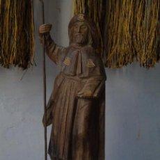 Antigüedades: IMAGEN SANTIAGO FIGURA ESCULTURA MADERA SANTYAGO TALLA DE MADERA. Lote 154400938