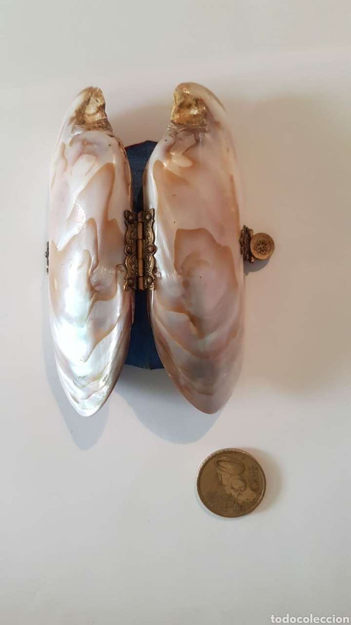 Antigüedades: Estuche monedero pintalabios concha nácar - Foto 3 - 154468477