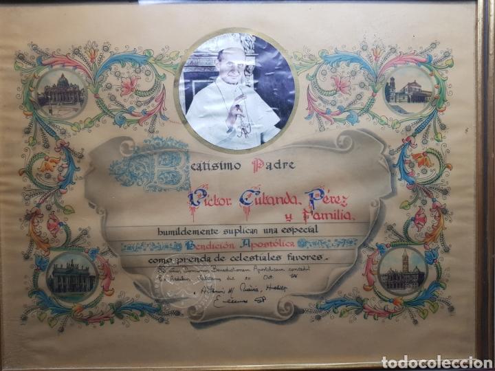 DOCUMENTO BENDICION PAPAL AÑO 1876 (Antigüedades - Religiosas - Varios)