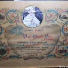 Antigüedades: DOCUMENTO BENDICION PAPAL AÑO 1876. Lote 154471686