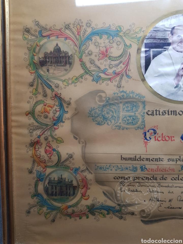 Antigüedades: Documento Bendicion Papal año 1876 - Foto 6 - 154471686