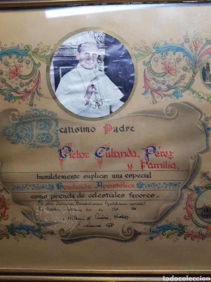 Antigüedades: Documento Bendicion Papal año 1876 - Foto 7 - 154471686