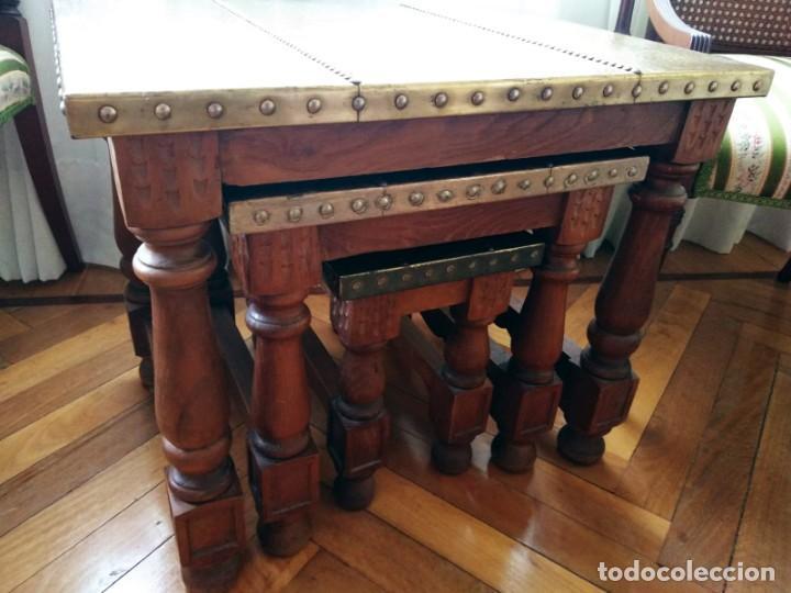 Antigüedades: Mesas nido estilo castellano cobre amartillado - Foto 3 - 154504102