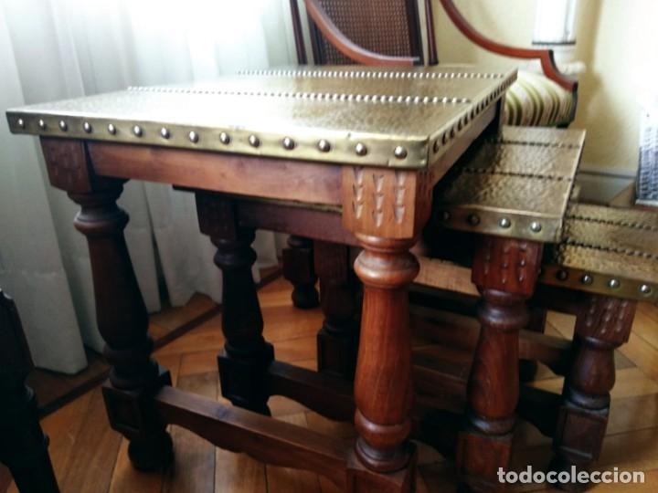 Antigüedades: Mesas nido estilo castellano cobre amartillado - Foto 7 - 154504102