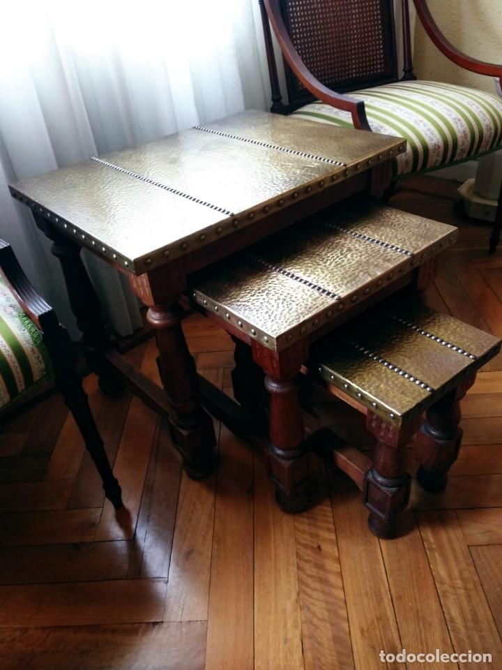 Antigüedades: Mesas nido estilo castellano cobre amartillado - Foto 9 - 154504102