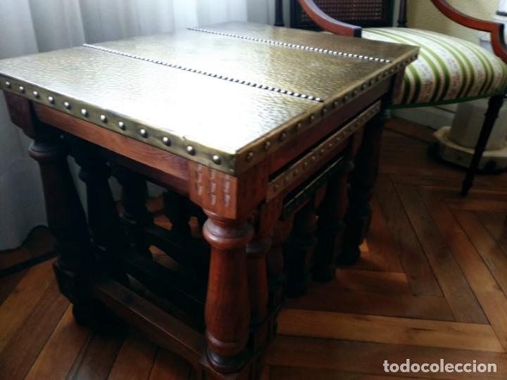 Antigüedades: Mesas nido estilo castellano cobre amartillado - Foto 8 - 154504102