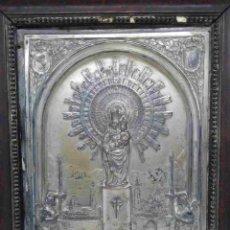 Antigüedades: CUADRO EN ORFEBRERÍA PLATEADO DE LA VIRGEN DEL PILAR. PRINCIPIOS DEL SIGLO XX. ALFOSO XIII.. Lote 154513326