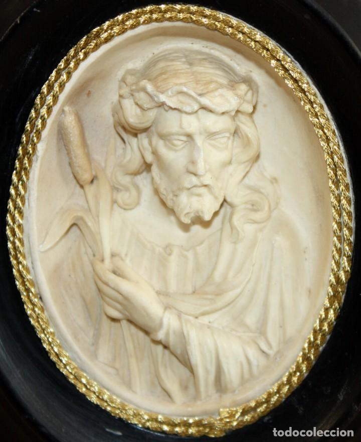 Antigüedades: BENDITERA DE ESPUMA DE MAR-JESUCRISTO-SG XIX. - Foto 2 - 154564574