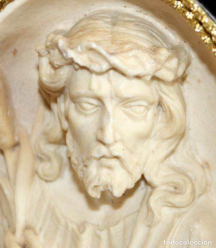Antigüedades: BENDITERA DE ESPUMA DE MAR-JESUCRISTO-SG XIX. - Foto 6 - 154564574