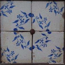 Antigüedades: PLAFÓN 4 AZULEJOS ANTIGUOS DE PORCELANA CATALANA.. Lote 154567222