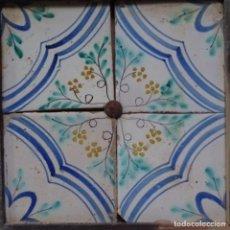 Antigüedades: PLAFÓN 4 AZULEJOS ANTIGUOS DE PORCELANA CATALANA.. Lote 154567278