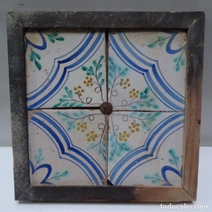 Antigüedades: Plafón 4 azulejos antiguos de porcelana catalana. - Foto 2 - 154567278