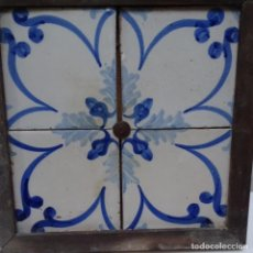 Antigüedades: PLAFÓN 4 AZULEJOS ANTIGUOS DE PORCELANA CATALANA.. Lote 154567310