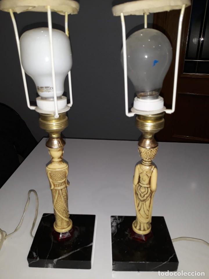 Antigüedades: Pareja de lámparas de mesa de monje y sacerdotisa chinos con base de mármol - FUNCIONAN. Años 70/80. - Foto 10 - 154573654