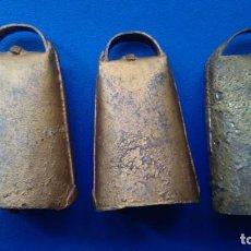 Antigüedades: LOTE DE TRES ANTIGUOS CENCERROS PEQUEÑOS. Lote 154617658