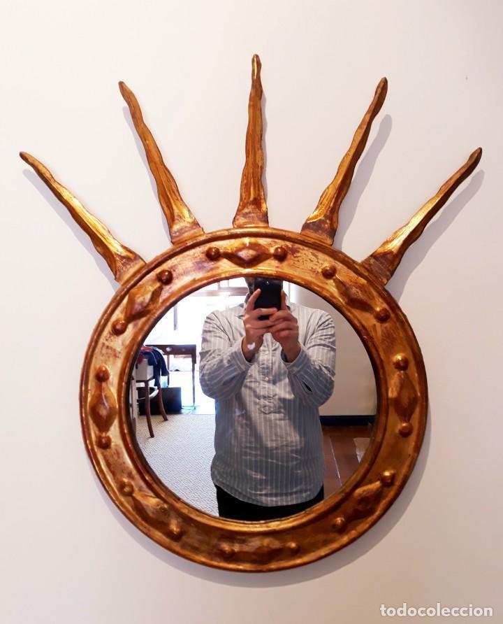 Antigüedades: Espejo Italiano Siglo XIX. Tallado y dorado - Foto 2 - 154629118