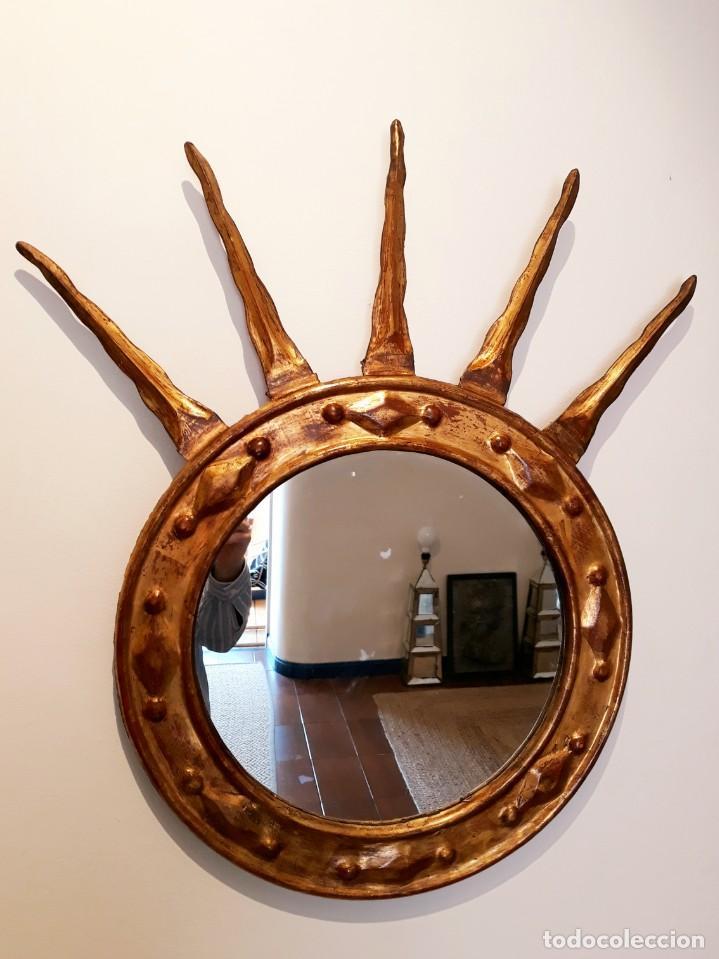 Antigüedades: Espejo Italiano Siglo XIX. Tallado y dorado - Foto 3 - 154629118