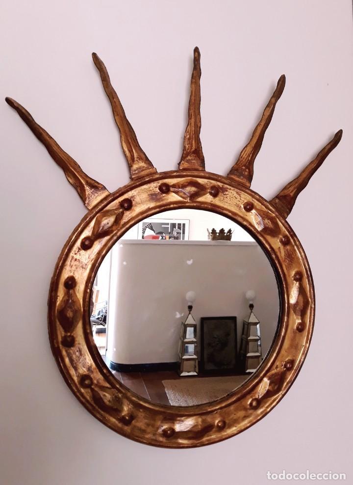Antigüedades: Espejo Italiano Siglo XIX. Tallado y dorado - Foto 5 - 154629118