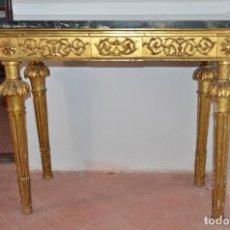 Antigüedades: CONSOLA CARLOS IV TAPA DE MÁRMOL VERDE. Lote 154654354