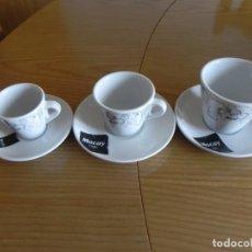 Antigüedades: JUEGO DE 3 TAZAS Y 3 PLATOS CAFE MOCAY, SOLO,CON LECHE,DESAYUNO, CERAMICA PORTUGAL CUP SAUCER. Lote 154659346