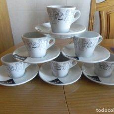 Antigüedades: JUEGO DE 6 TAZAS Y 6 PLATOS CAFE MOCAY, CAFE CON LECHE, CERAMICA PORTUGAL CUP SAUCER. Lote 154659986