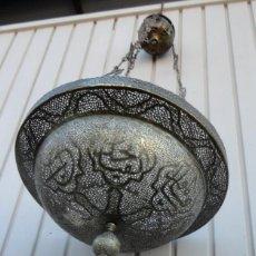 Antigüedades: LAMPARA VOTIVA DE TECHO COPTA U ORTODOXA, DE BRONCE 150 DE ALTURA. Lote 154672294