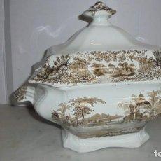 Antigüedades: (M) ANTIGUA SOPERA , CARTUJA PICKMAN , CALCOMANIA DE COLOR MARRON PERFECTO ESTADO 27 CM. ALTURA . Lote 154676126
