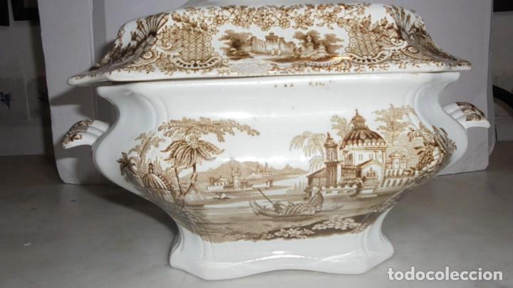 Antigüedades: (M) ANTIGUA SOPERA , CARTUJA PICKMAN , CALCOMANIA DE COLOR MARRON PERFECTO ESTADO 27 CM. ALTURA - Foto 4 - 154676126
