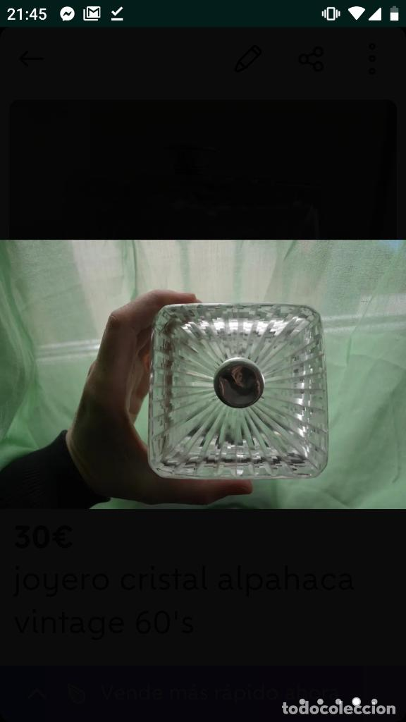 Antigüedades: Joyero vintage 60's cristal alpaca - Foto 3 - 154715250