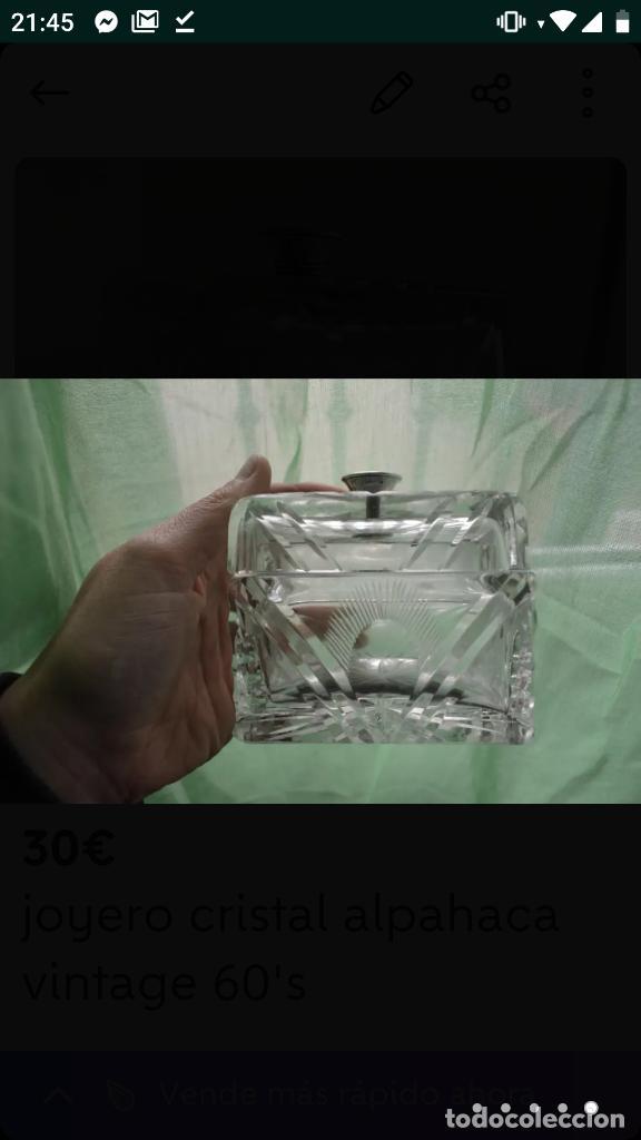 Antigüedades: Joyero vintage 60's cristal alpaca - Foto 4 - 154715250