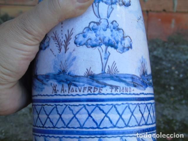 Antigüedades: ceramica triana bonita botella de ceramica firmado a valverde triana - Foto 2 - 154738442