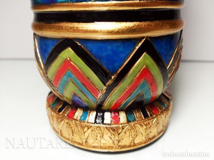 Antigüedades: Bello búcaro o jarrón egipcio de la casa Veronese (2004) pintado a mano - Incluye embalaje original - Foto 6 - 154785962