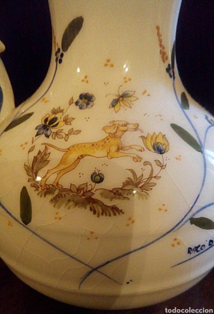 Antigüedades: Antiguo jarron de cerámica. Raco Dart. Decorado a mano. - Foto 3 - 154792950