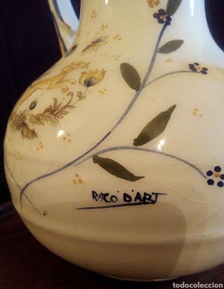Antigüedades: Antiguo jarron de cerámica. Raco Dart. Decorado a mano. - Foto 4 - 154792950